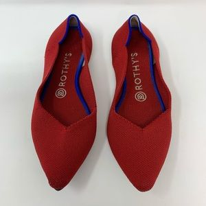 Rothy's Red The Point Flats, Fits Size 6-6.5